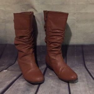 Genuine Leather Wide Calf Scrunch Boots Cognac